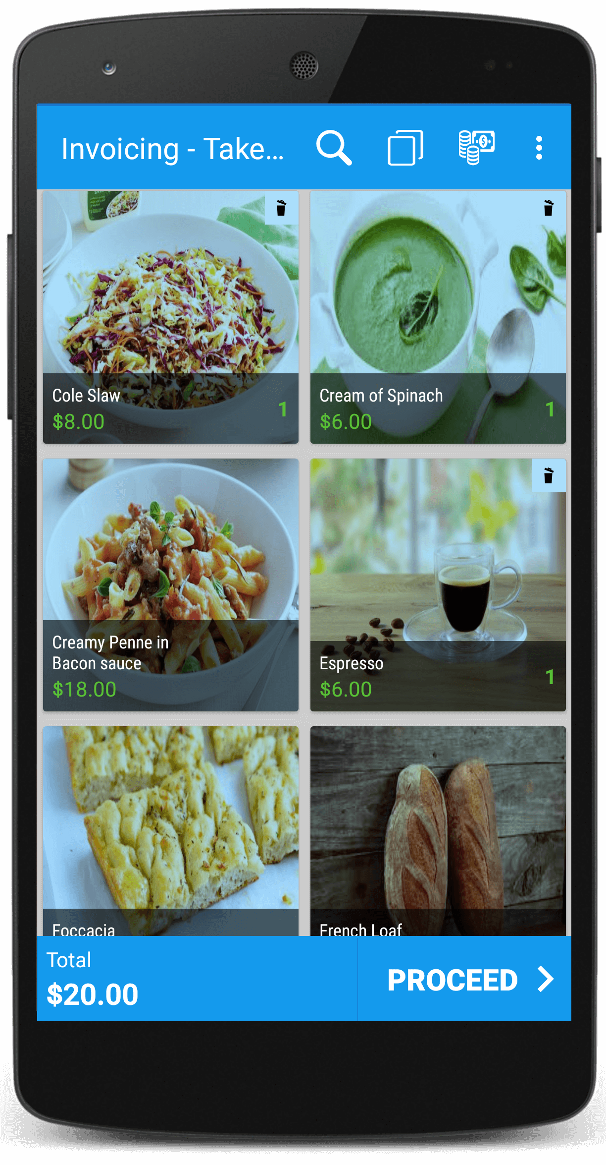 Restaurant mobile billing app