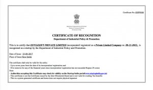 Startup India Certificate